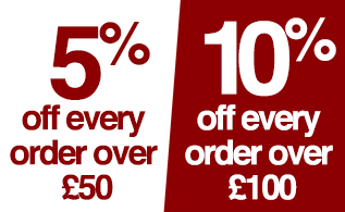 5% off every £50 order, 10% off every £100 order